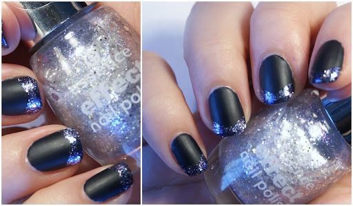 Galaxy French Nail Art with essence effect icy fairy