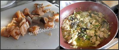 Spaghetti con trota salmonata prepariamo il sugo di pesce