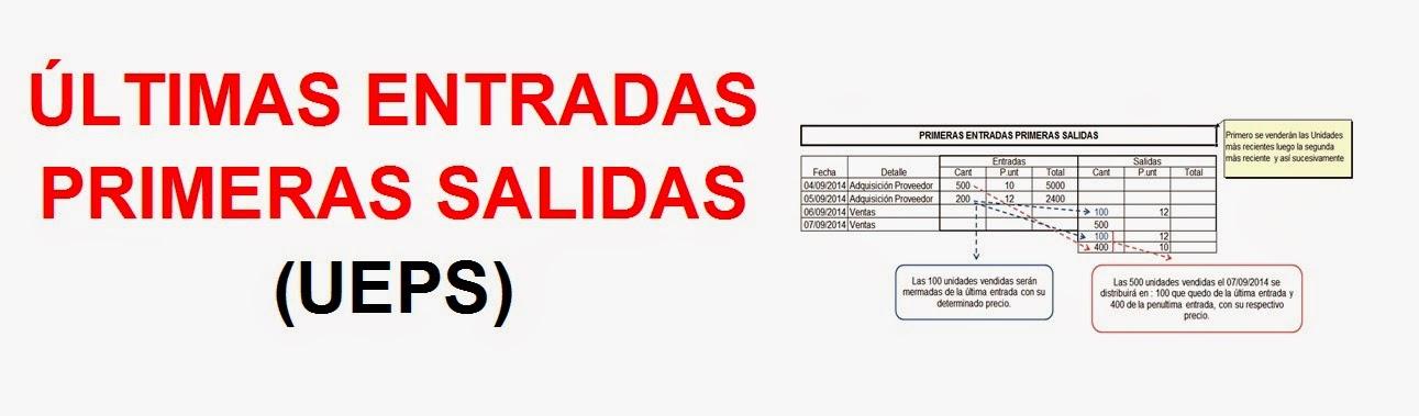 ÚLTIMAS ENTRADAS PRIMERAS SALIDAS (UEPS)