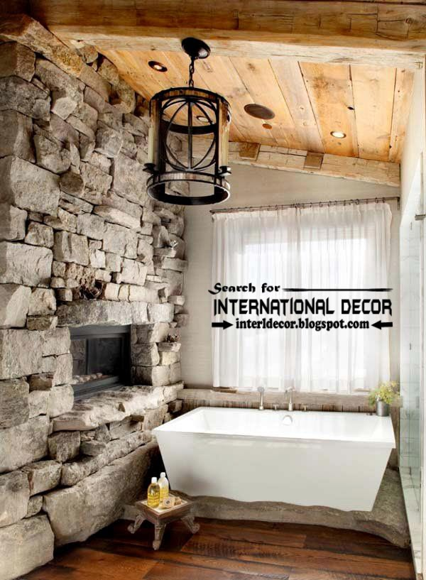 Cozy Interior bathroom with fireplace designs ideas, rustic bathroom with fireplace