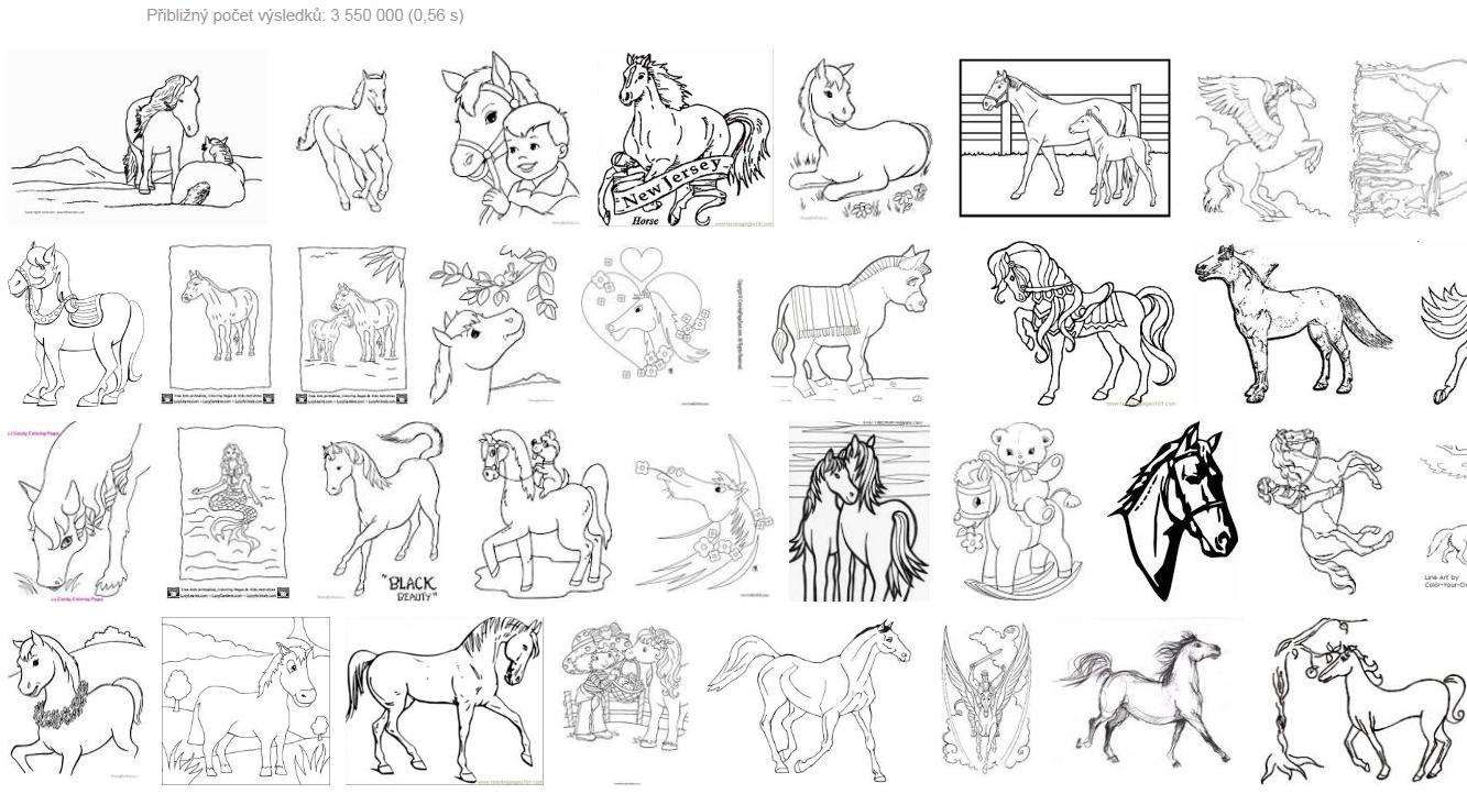 Koně - omalovánky