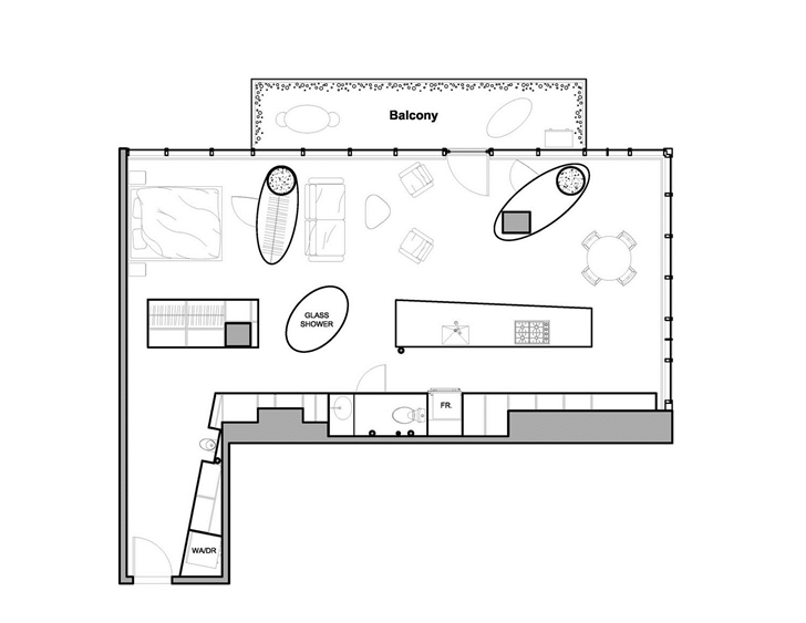Floor plan of Modern apartment in Ottawa after renovation