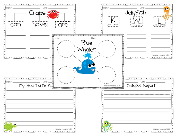 http://www.teacherspayteachers.com/Product/Under-the-Sea-Informational-Writing-Pack-1117140