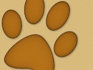 dog brown paw print