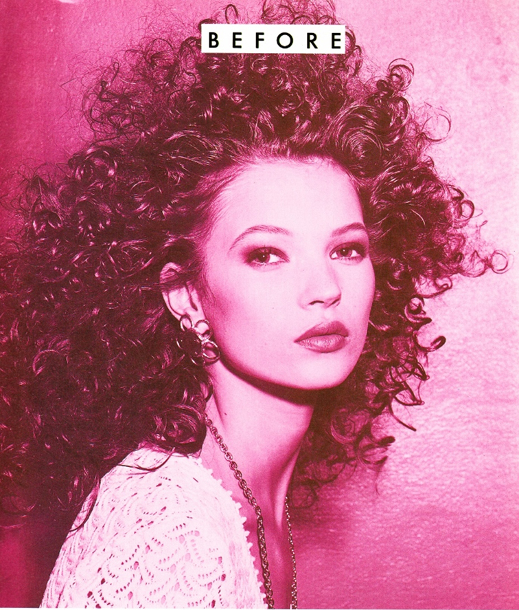 Baby Kate Moss with a fro in 1990, disco glam