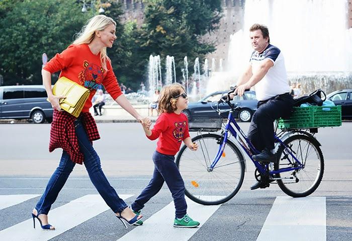 street style fashion week spring 2014, red, tartan