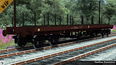 Fastline Simulation: This early airbrake conversion of a Bogie Bolster D to diagram BD006A has six bolsters and four ratchets on each side and is finished in freight brown livery.