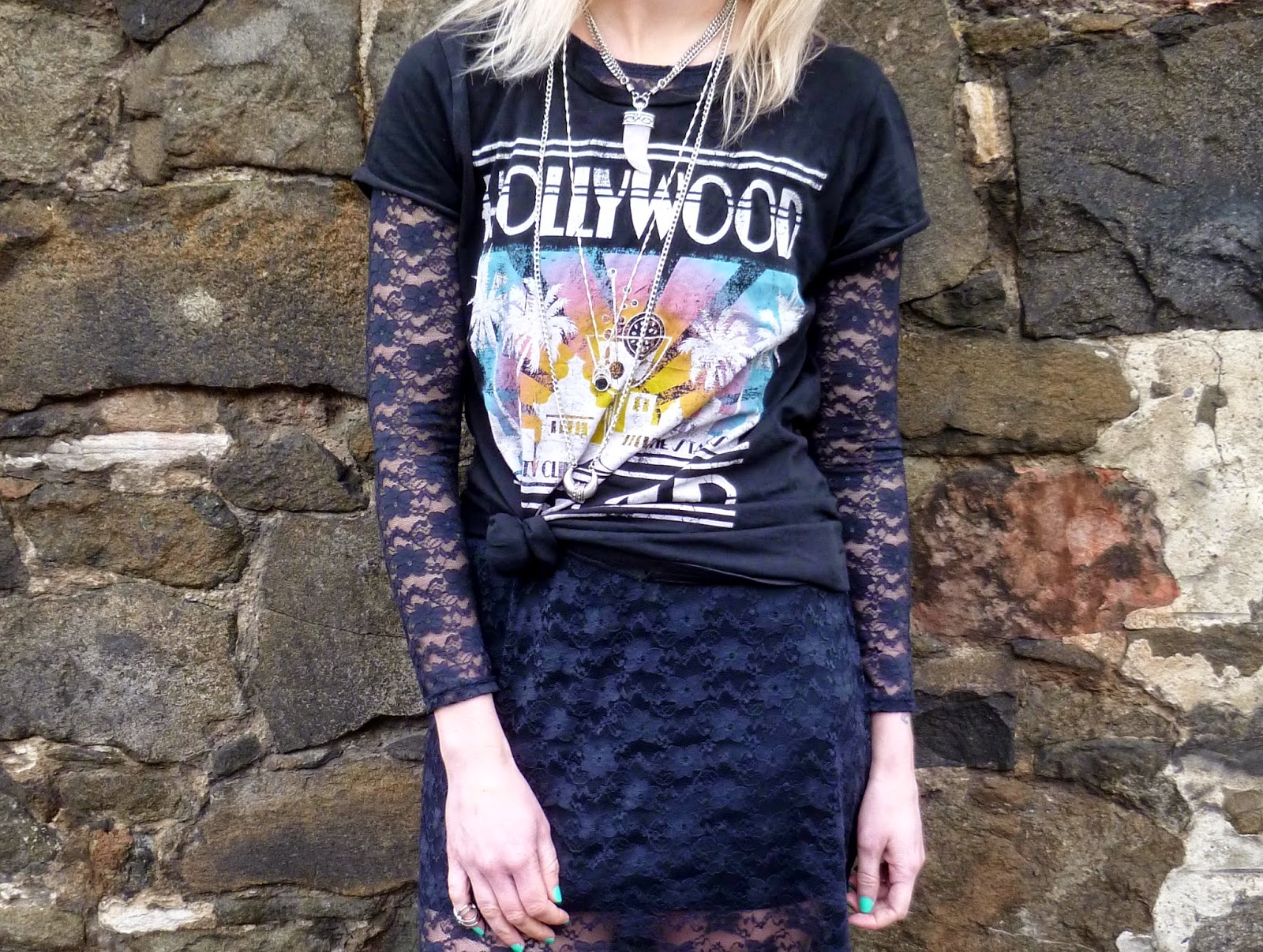 Sheer lace black maxi dress with vintage tee