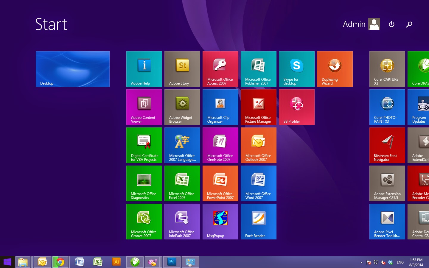 Standard Windows 8 Menu