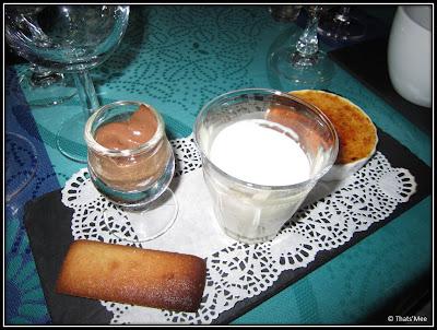 Thé gourmand Chez Mémé mini-financier mousse au chocolat crème caramel
