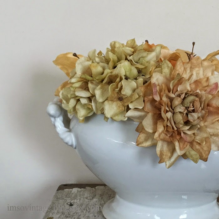antique white ironstone tureen flowers