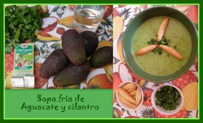 Sopa fría de Aguacate y cilantro
