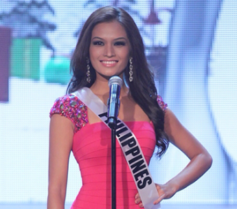 Janine Tugonon in a pink cocktail dress during the Miss Universe 2012 prelims opening