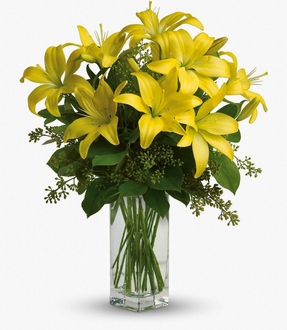 Yellow Lilies Arranged in A Vase