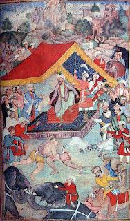 Babar watching wrestling and animal fights, a leaf the babar nama, Mughal