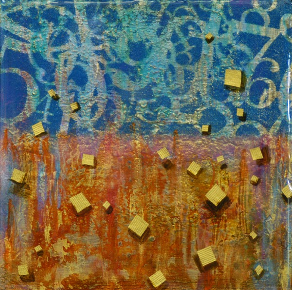 mixed media on panel with resin and gold leaf