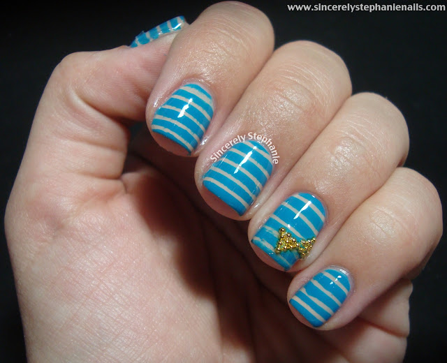 stripe and bow nail art