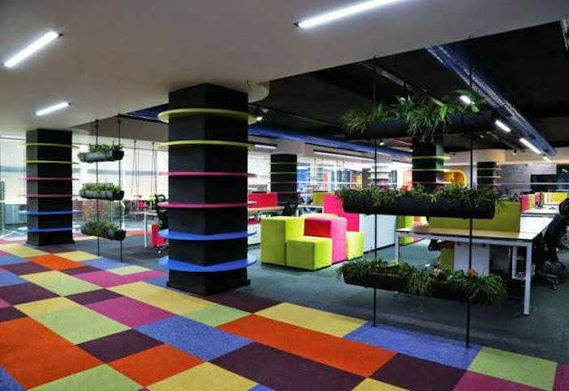 creative and crazy office decoration furniture | creative modern office design ideas | rainbow color table and chair for office design | creative office design inspiration | creative office decorating ideas | creative office furniture