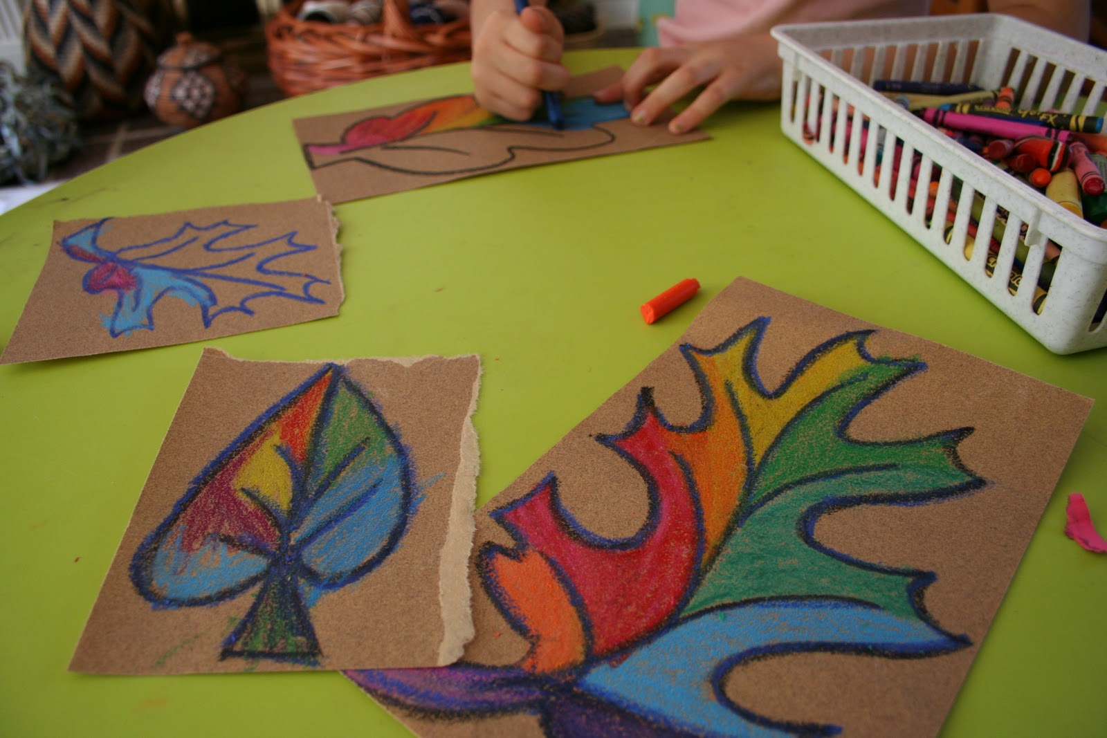 Pink and green mama easy fall kid craft sandpaper and for Fall arts and crafts for preschoolers