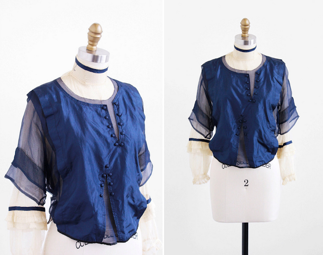 Sapphire Edwardian Blouse #1910s #antique #fashion #edwardian #style