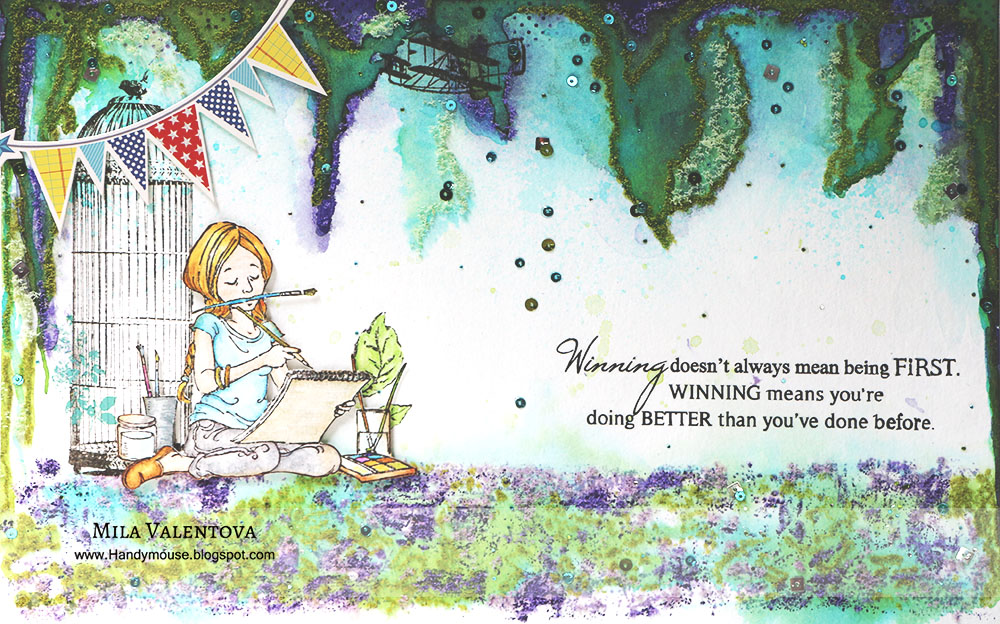 Акварель, девушка, лес и рисунки. Мила Валентова.