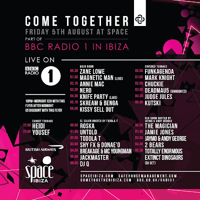 Radio One, Come Together, Space Ibiza, August 5th