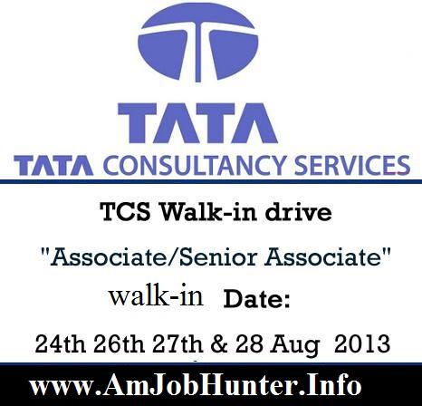 TCS Walk-in drive  Associate/Senior Associate for B.Sc graduates