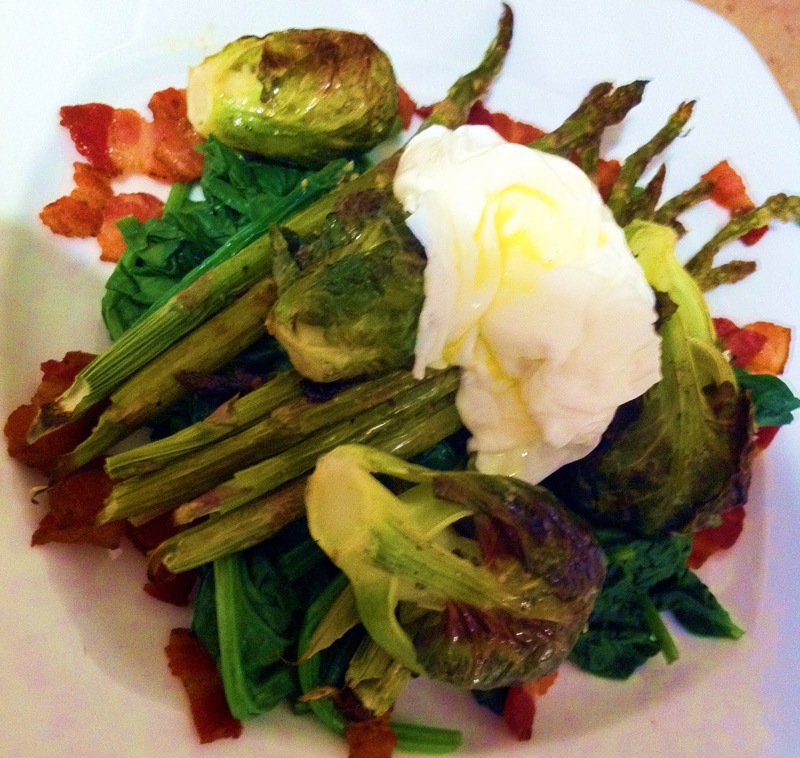 Poached Egg Crostone With Wilted Spinach And Bacon Recipe ...
