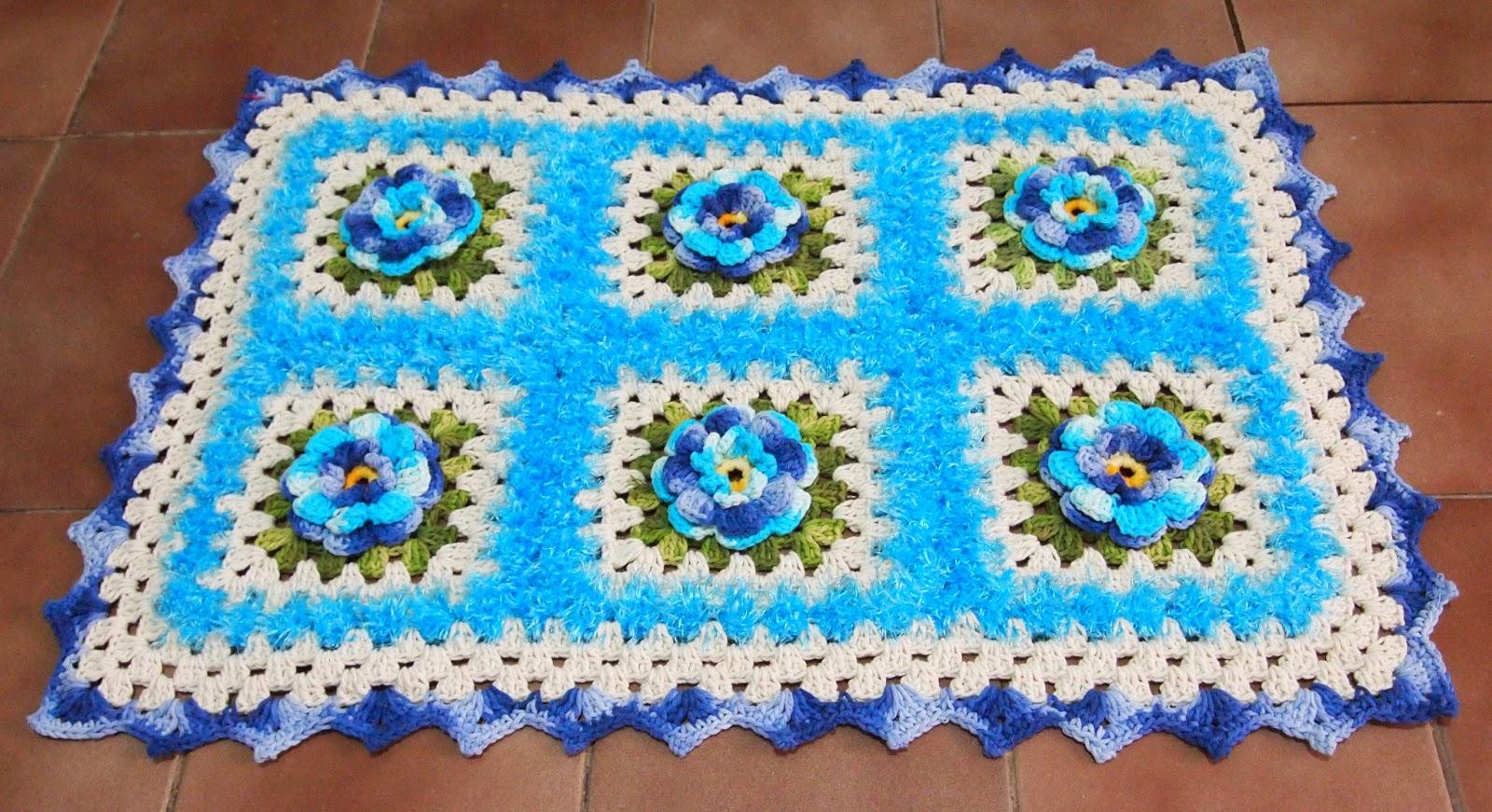 os croches da elsa tapete em tons de azul