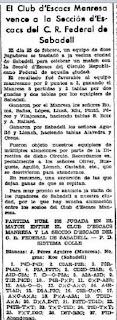 Recorte de prensa encuentro de ajedrez Manresa - Círculo Republicano Federal de Sabadell