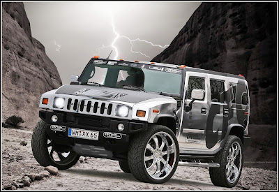 Chrome Hummer With Linghting - Hummer Cars Modification wallpaper