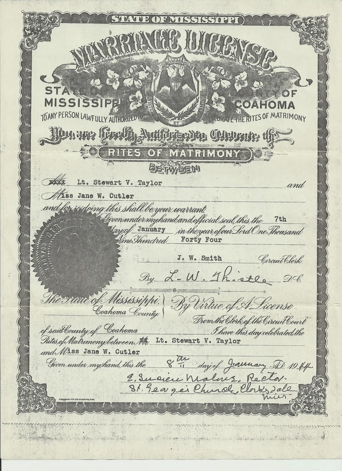 The art of genealogy february 2014 sure enough lt stewart v taylor and miss jane w cutler were married on the 8th day of january 1944 at st georges church in clarksdale mississippi xflitez Image collections