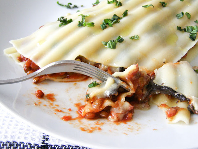 Puy Lentil, Portabello Mushroom and Baby Spinach Free Form Lasagna - vegan