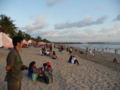Waiting for sunset at Kuta Beach Bali Indonesia