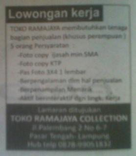 Lowongan Bag. Penjualan Toko Ramajaya Tanjung Karang, Lampung