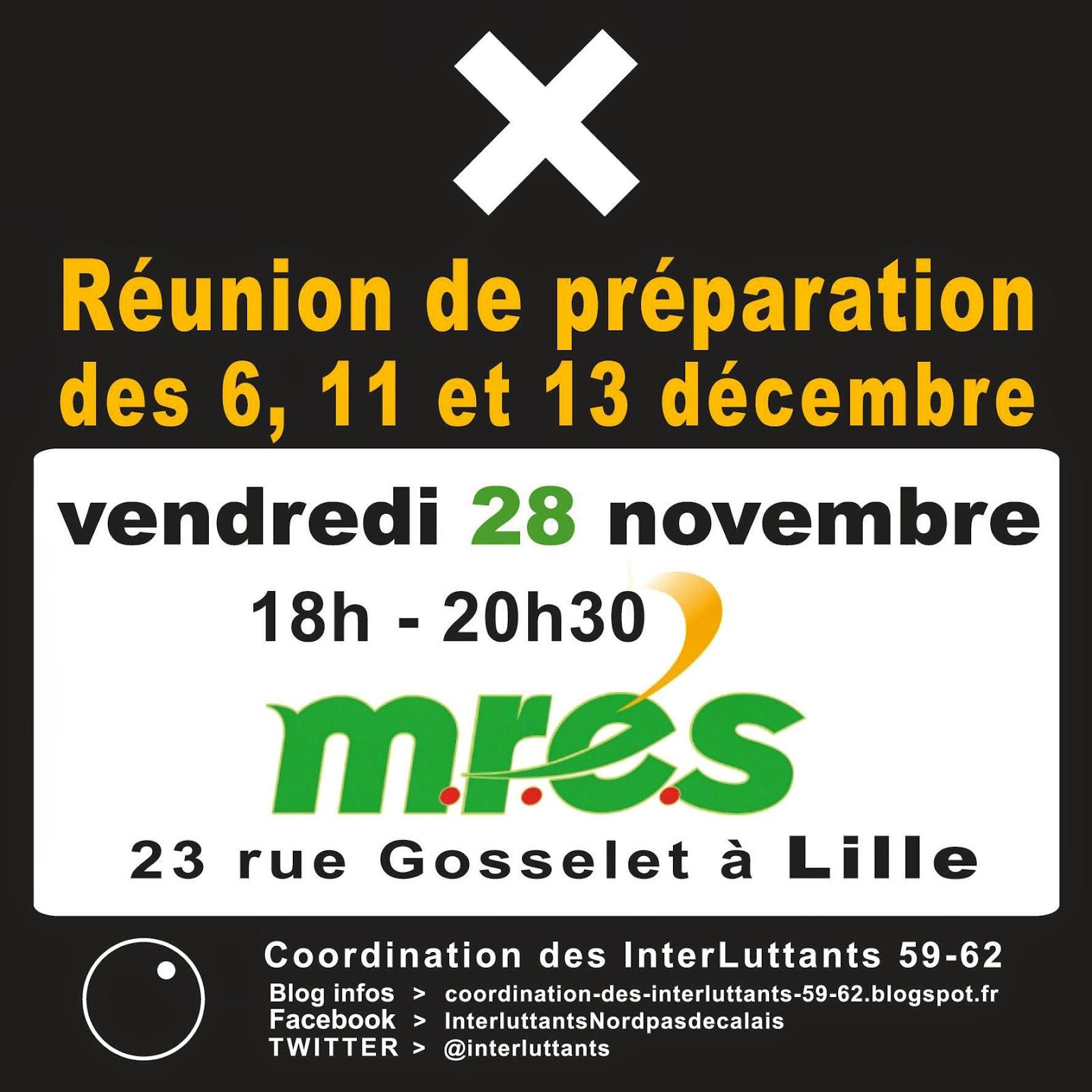 Réunion de préparation des 6, 11 et 13 décembre  !! Ouvert à tous !! Vendredi 28 novembre 18h00 - 20h30 à la M.R.E.S  (Maison Régionale de l'Environnement et des Solidarités) 23 rue Gosselet à Lille