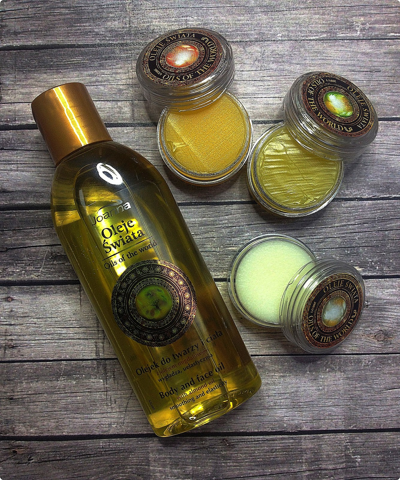 Oleje świata: olejek do ciała i twarzy z olejem migdałowym oraz balsamy do suchych miejsc 3 w 1, Joanna