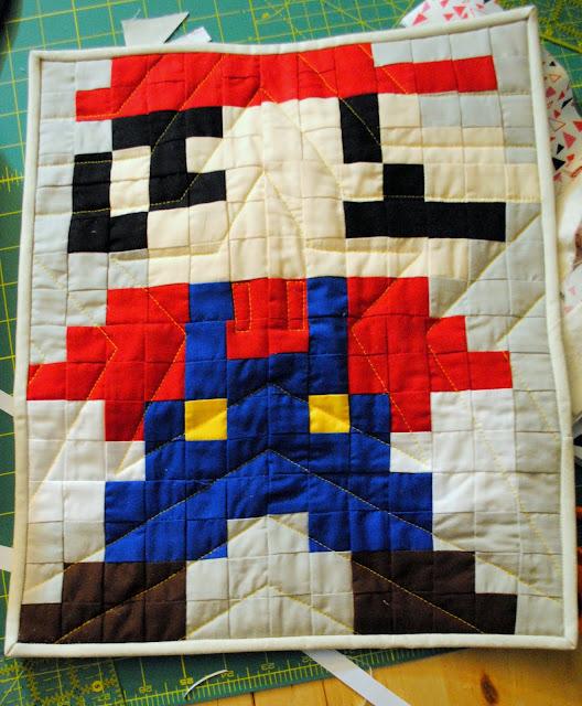 mario pixel mini quilt