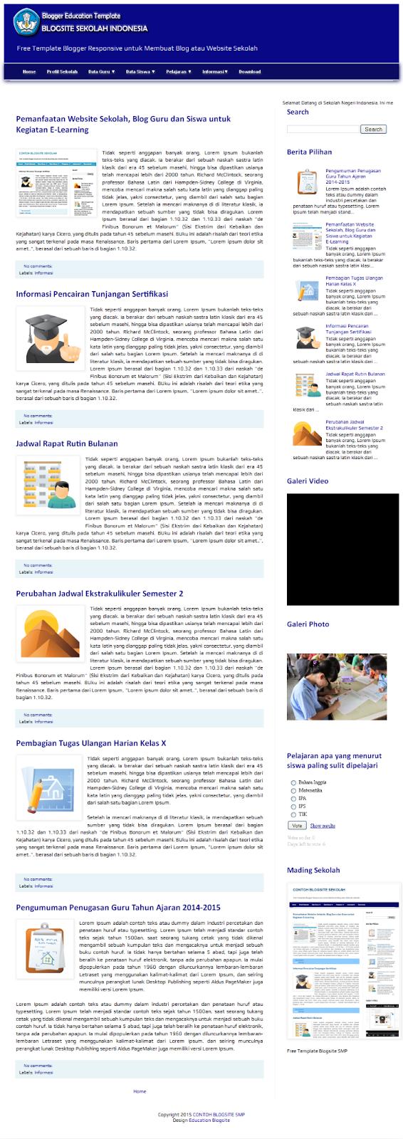 Membuat Website Sekolah Dengan Blogger Dan Template Blog