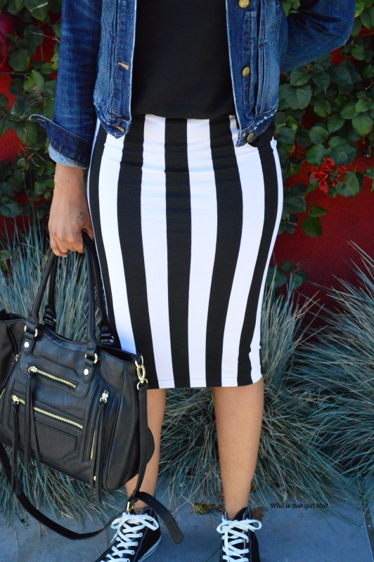 Striped pencil skirt close up pic {who is that girl mo?}