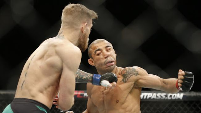 Conor McGregor lands the fight-ending blow.
