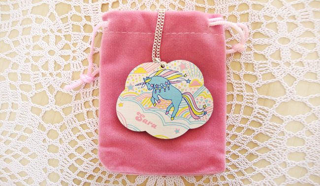 Lucky Dip Club, unicorn necklace, personalised necklace