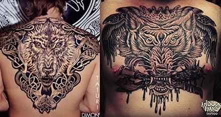 Tatuagem de lobo nas costas
