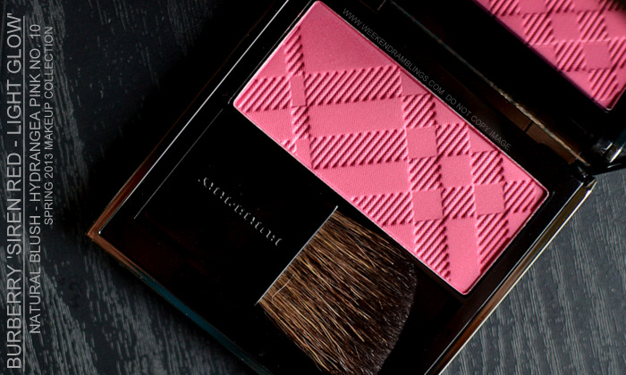 Burberry Spring Summer 2013 Makeup Collection Siren Red Light Natural Glow Blush Hydrangea Pink 10 Indian Beauty Blog Swatches