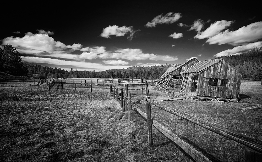 old barn, Sierraville California black and white