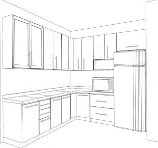 Desenhos Preto e Branco Cozinha Completa Colorir