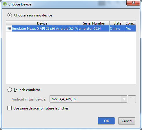 Android Studio - Choose Running Device Dialog