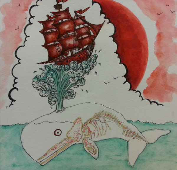 © Stephanie Ayers, whale, red sky, ship