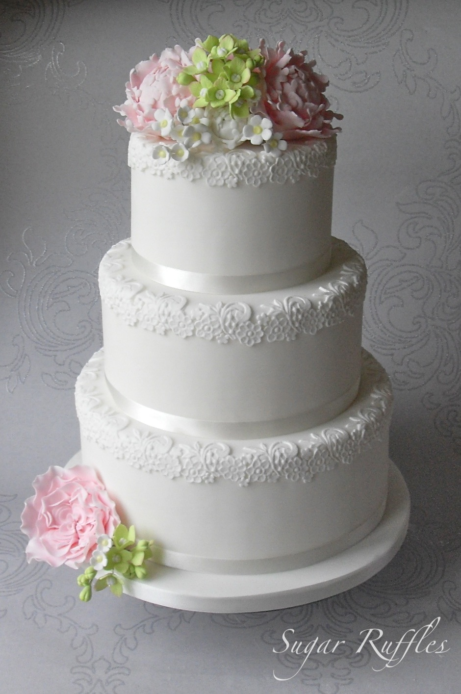 Lace Wedding Cake With Sugar Flowers