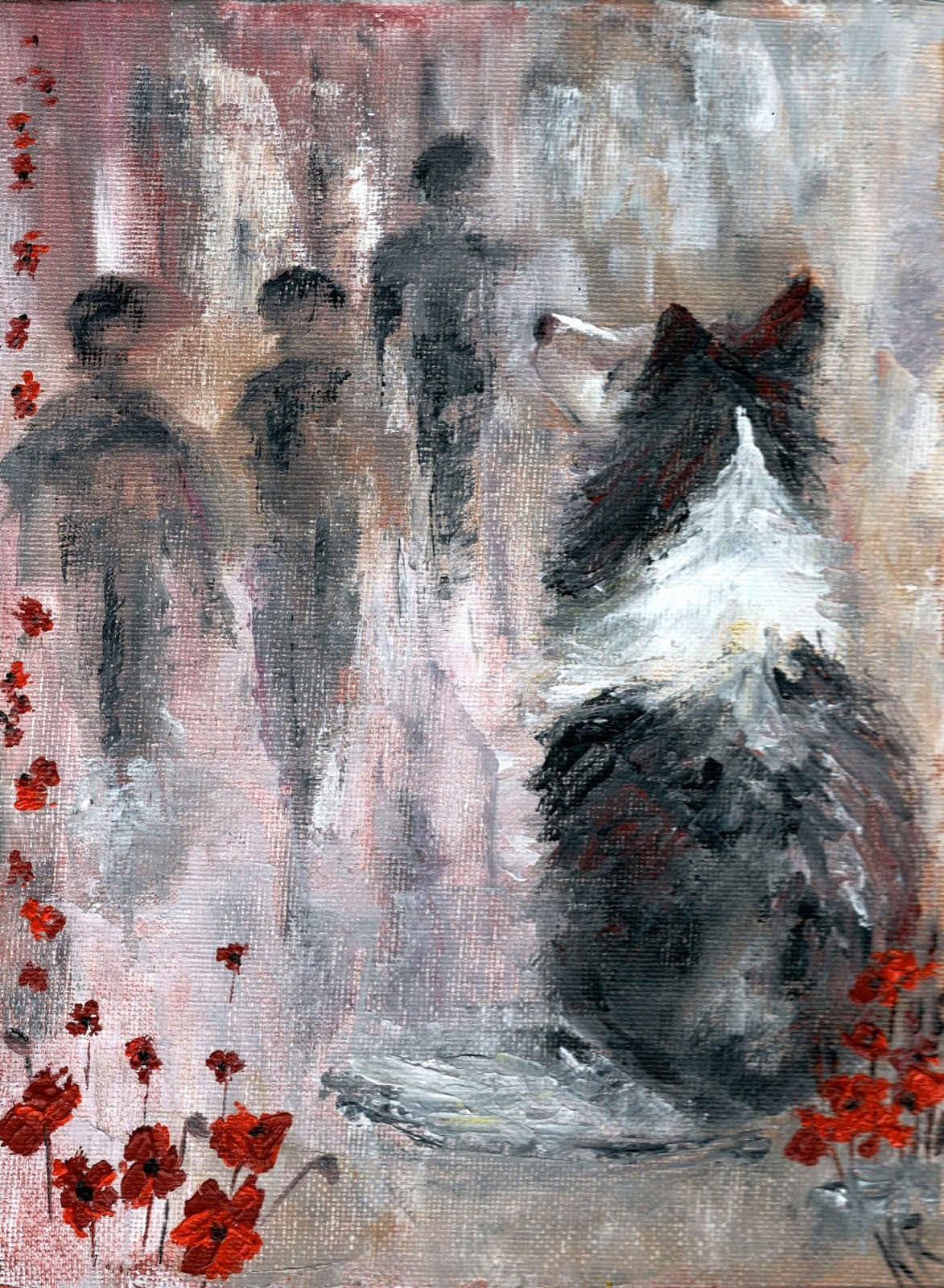Remembrance Day (Veteran's Day) painting. Oil painting of poppies and dog